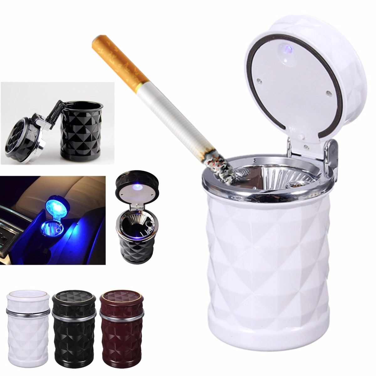 LED Auto Car Cigarette Ash Ashtray Smokeless Stand Cylinder Cup Holder Gifts