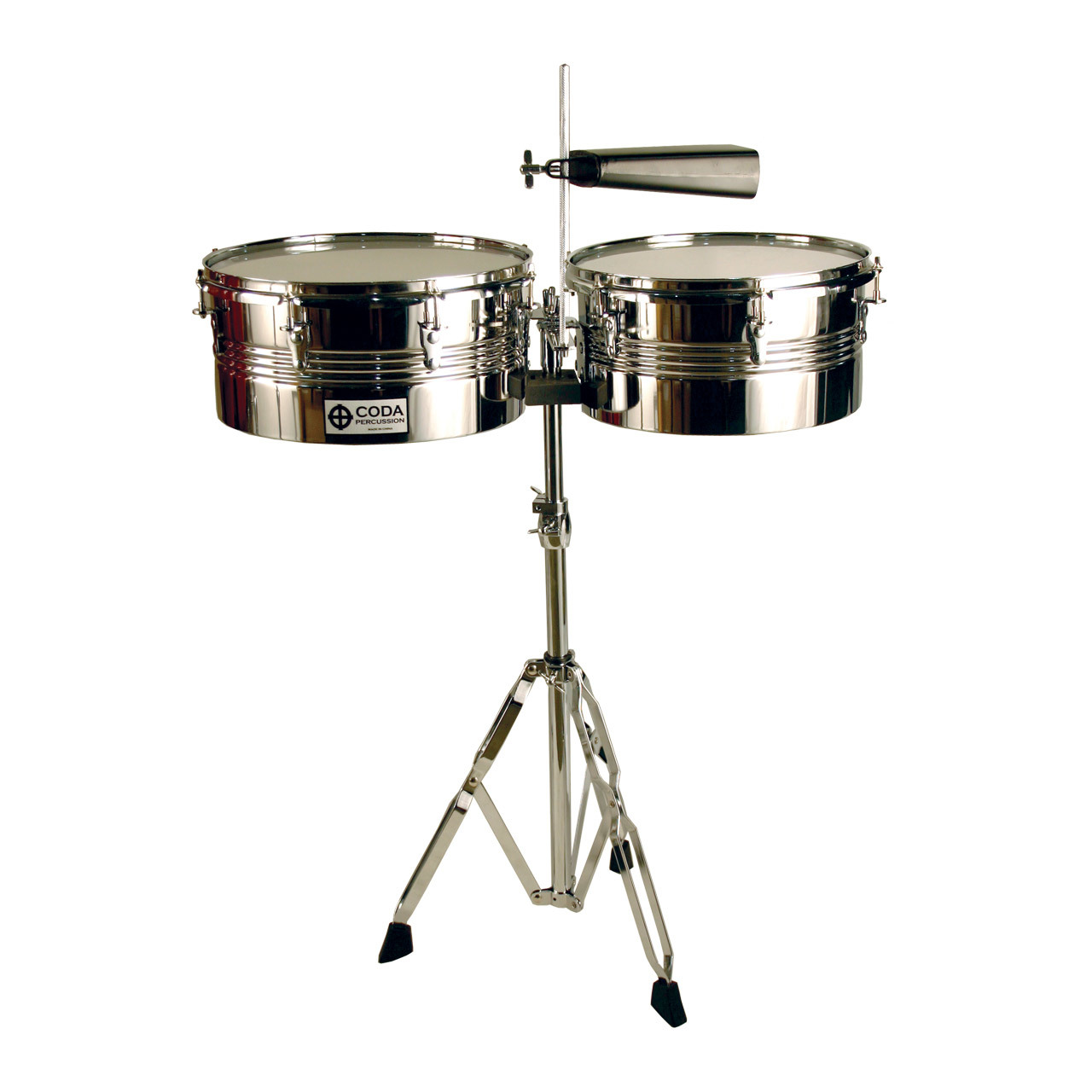 "CODA Timbales With Stand/Sticks 13"" + 14"" Size DP-420-13/14"