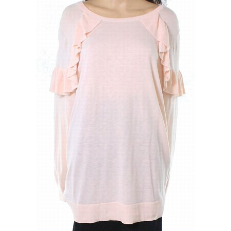 (Sejour NEW Pink Womens Size 2X Plus Ruffled Trim Scoop Neck Sweater)