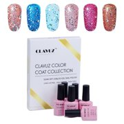 Gel Polish,CLAVUZ 6pcs Glitter Nail Polish Kit Soak Off UV LED Nail Lacquer - Best Reviews Guide