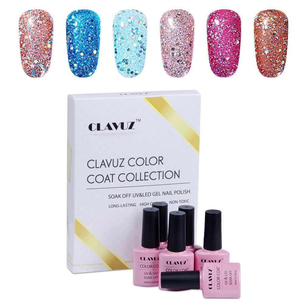 Gel Polish,CLAVUZ 6pcs Glitter Nail Polish Kit Soak Off UV LED Nail Lacquer Manicure Nail Art Tool Kit 10ML
