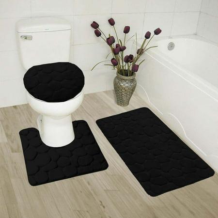 Walmart Bathroom Rug Sets.Rock Black 3 Piece Embossed Bathroom Rug Set Super Soft Memory Foam Bath Mat Rug 19 X 30 Contour Mat 19 X19 And Toilet Lid Cover 19 X19 With