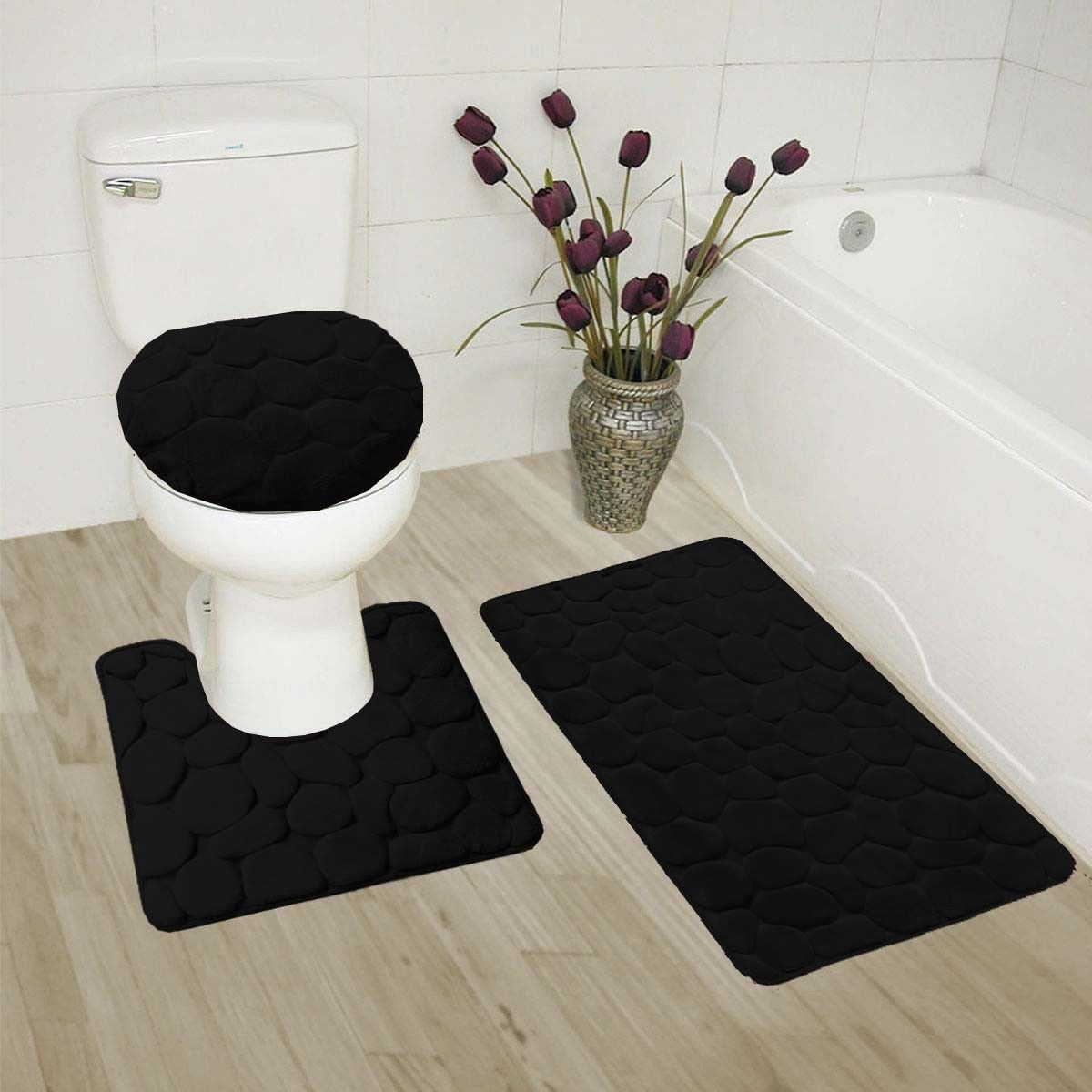 """ROCK BLACK 3-Piece Embossed Bathroom Rug Set Super Soft Memory Foam Bath Mat, Rug 19""""x 30"""", Contour Mat 19""""x19"""" and Toilet Lid Cover 19""""x19"""" with Non-Skid Rubber Back"""