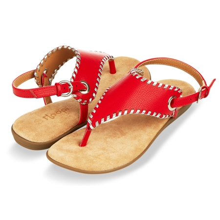 Floopi Summer Sandals for Women| Flat, Ankle-High, Gladiator, Thong Design W/Buckle Strap| Comfy, Faux Leather Build W/Flat Sole, Memory Foam