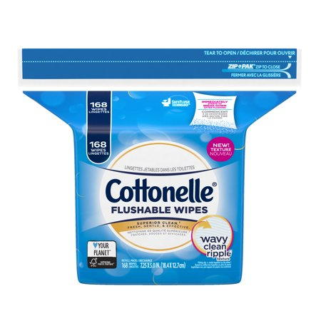 Cottonelle FreshCare Flushable Wipes Resealable Refill Pack, 168 Cleansing Cloths