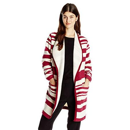 Jet Corp Women's Stripe Soft Jacket, Berry, Medium/Large