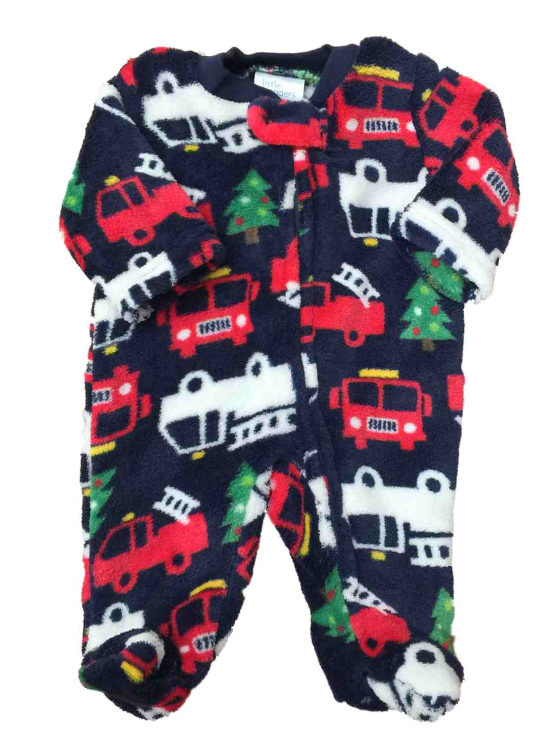 Infant Boys Christmas Tree Firetruck Fleece Pajama Sleeper Holiday Sleep & Play