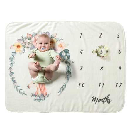 Baby Monthly Milestone Blanket For Girl Boy Floral Wings Unicorn Frame Newborn Photo Prop Background Super Soft Flannel 28 *