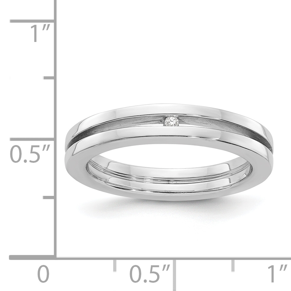 Diamond Band Ring Fine Jewelry For Women Gift Set 925 Sterling Silver .01ct
