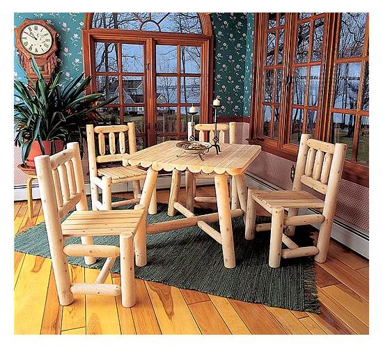 All Wood Dining Set With Four Chairs