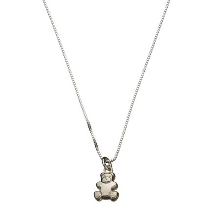 Sterling Silver Tiny Teddy Bear Charm Box Chain Nickel Free Necklace Italy, 18""
