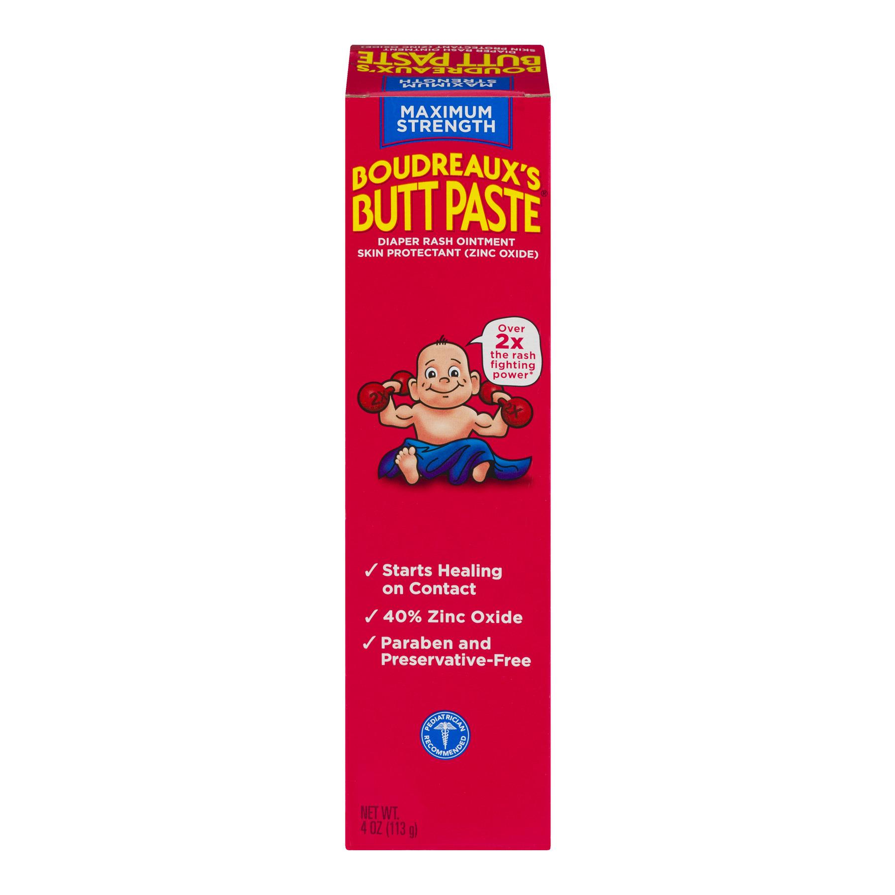 Boudreaux's Butt Paste Maximum Strength Diaper Rash Ointment, 4.0 OZ