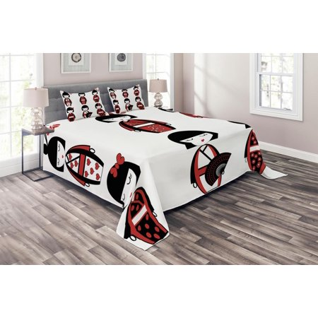 Girls Coverlet Set, Unique Asian Geisha Dolls in Folkloric Costumes Outfits Hair Sticks Kimono Art Image, Decorative Quilted Bedspread Set with Pillow Shams Included, Black Red, by Ambesonne (King And Queen Outfits)