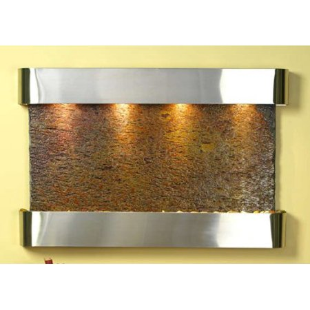 Natural Slate Water Wall - Adagio Sunrise Springs Fountain w/ Rajah Natural Slate in Stainless Steel Finish