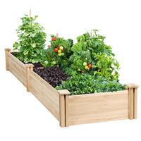 Raised Garden Bed Kit for Vegetables Outdoor Outside Natural Wood
