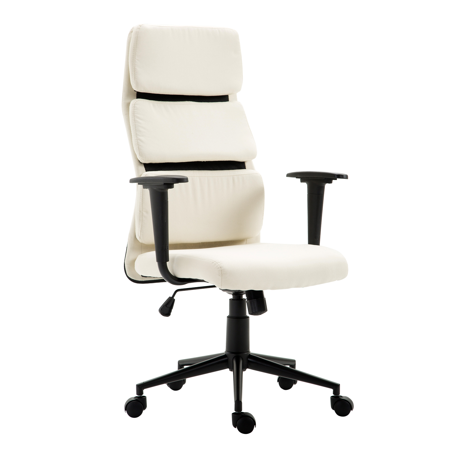 HOMCOM Lumbar Support Desktop Computer Chair With Arms   Cream White