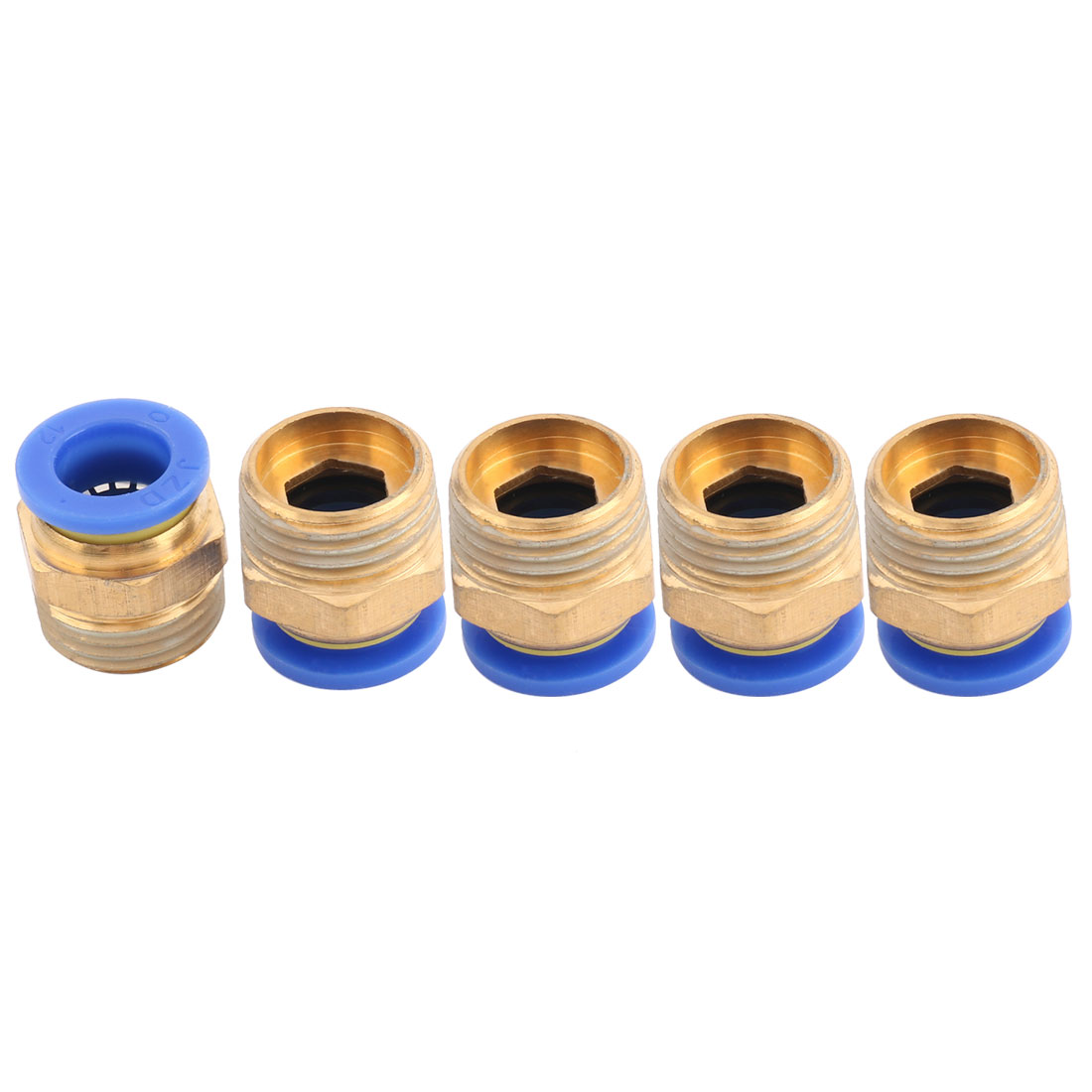 Metal Pneumatic Tube Thread Straight Push Pipe Joint Adaptor Quick Fittings 5pcs