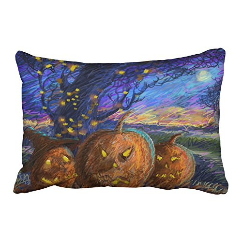 WinHome Happy Halloween Abstract Lines Night Scary Pumpkin Lights Decorative Pillowcases With Hidden Zipper Decor Cushion Covers Two Side 20x30 inches