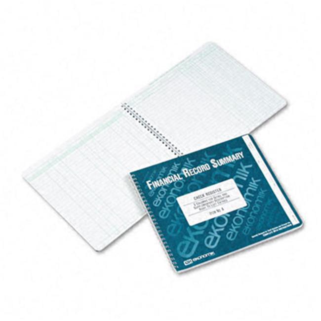 Ekonomik A Check Register with Itemized Details & Description 8-3 4 x 10 40-Pg Book by Ekonomik Systems