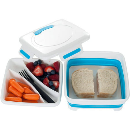 Classic Cuisine Square Expandable Lunch Box with Dividers - White Lunch Bags