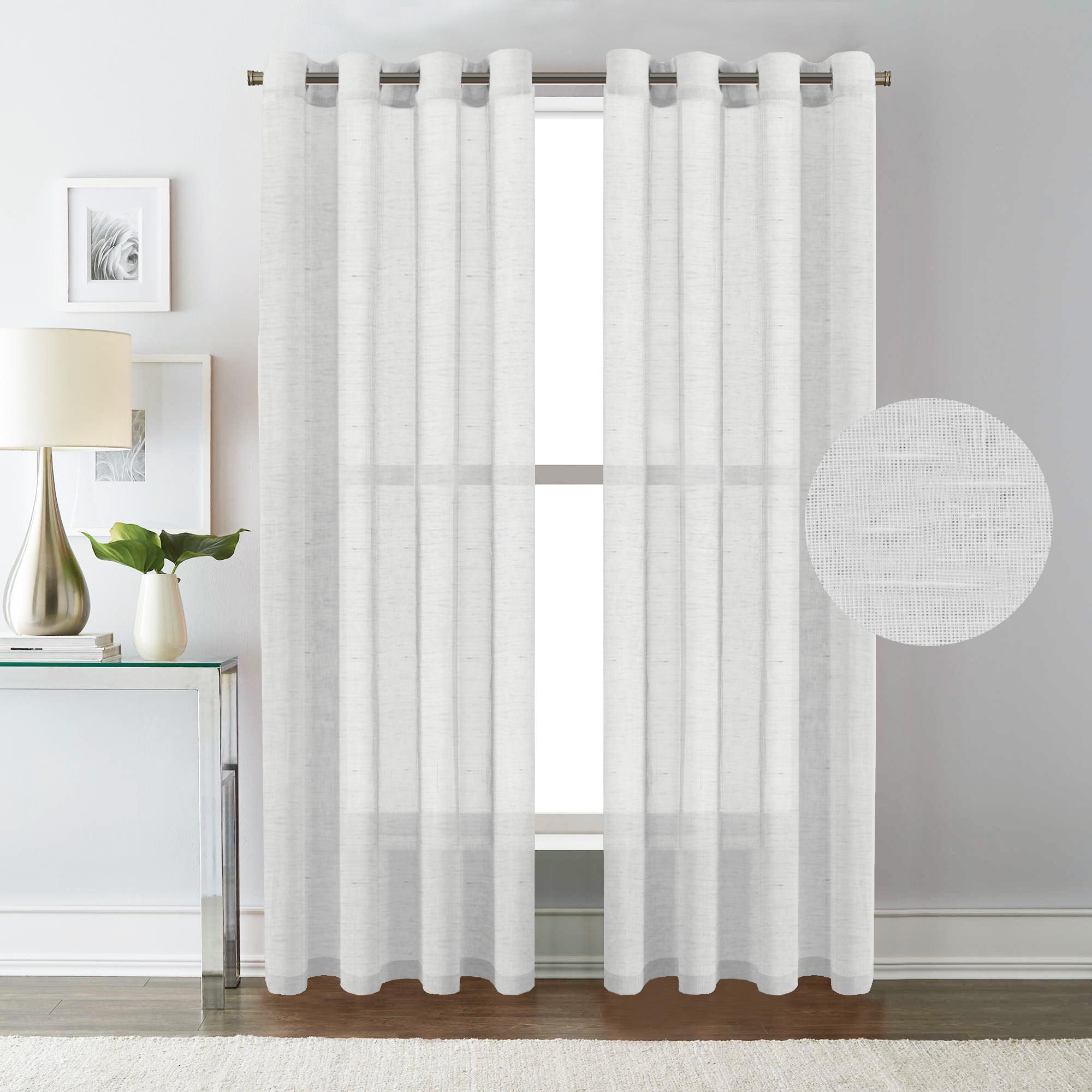 H Versailtex White Curtain Panels Rich Natural Linen Sheer Curtains For Bedroom 2 Panels Elegant Nickel Grommet Top 52x84 Inch Walmart Com Walmart Com