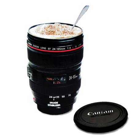 Camera Lens Coffee Mug, Best Photographer Gift, Ideas for Travel, Authentic Replica of the Canon (Mug Only)