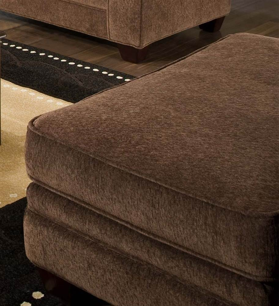 Upholstered Ottoman in Chocolate