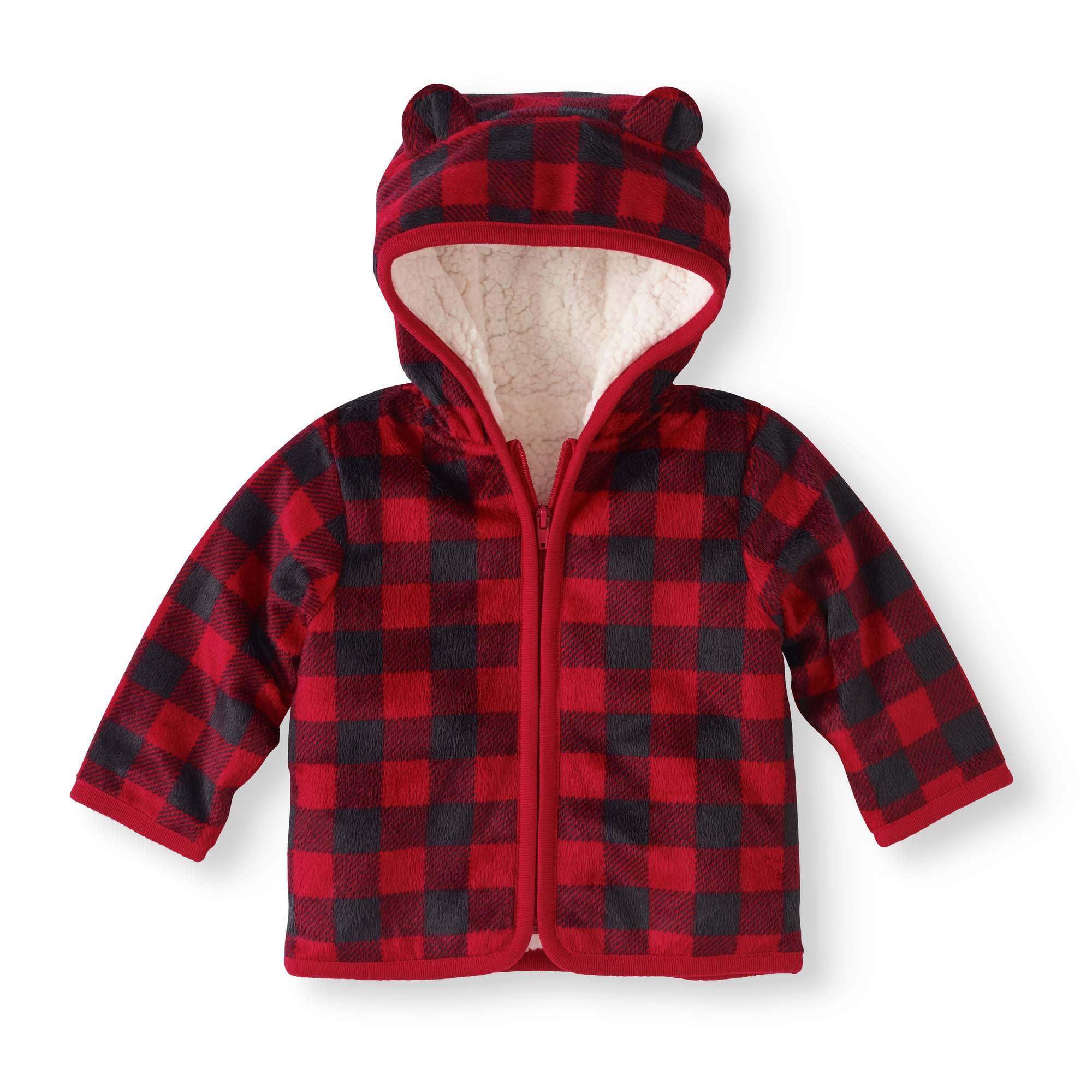 c234d098e Newborn Baby Boy Eared Cozy Fleece and Sherpa Hoodie