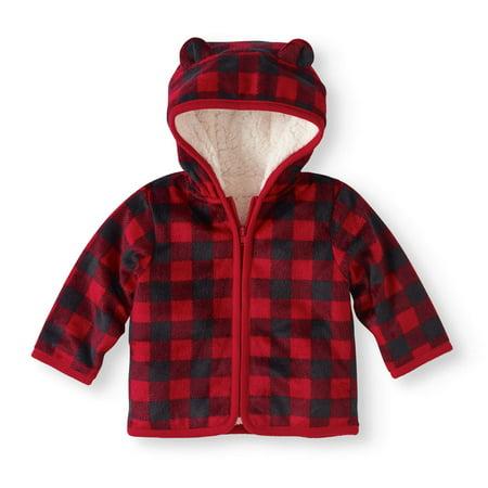 9ceab5d94 Healthtex - Newborn Baby Boy Eared Cozy Fleece and Sherpa Hoodie ...