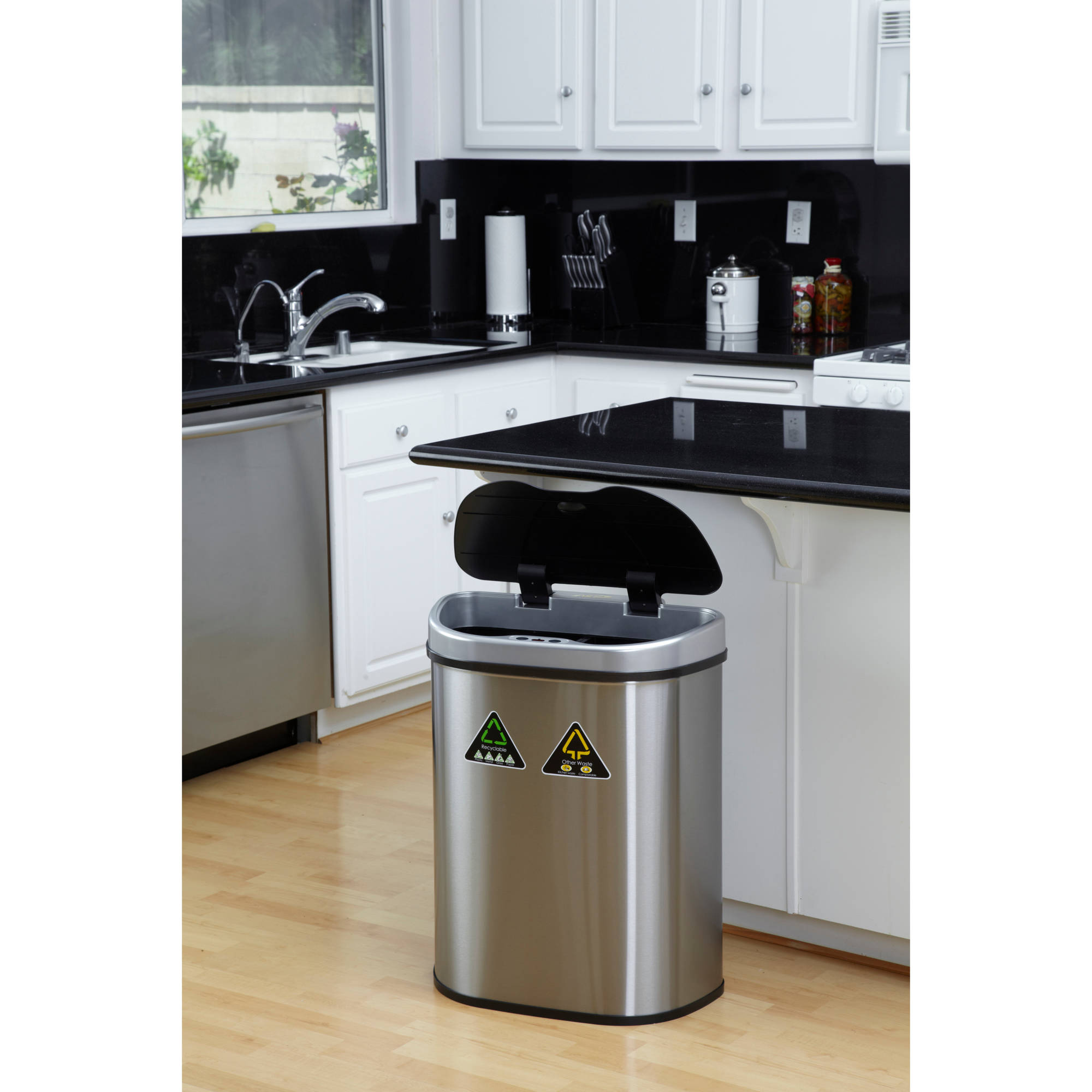 Nine Stars 18.5 Gallon Motion Sensor Recycle Unit And Trash Can, Stainless  Steel   Walmart.com
