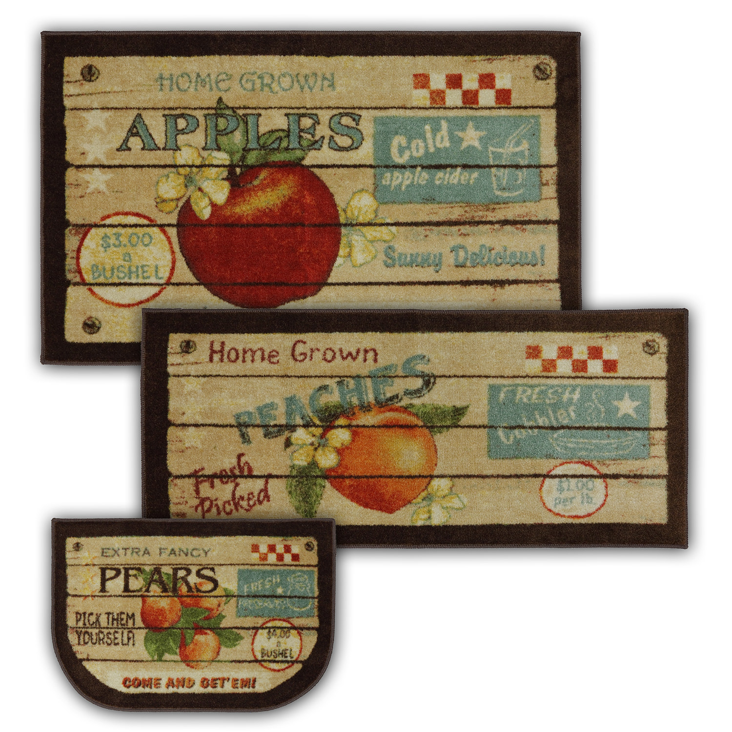 Mohawk Home New Wave Fruit Crate Multi Kitchen Mat, Set of 3, Multiple Sizes