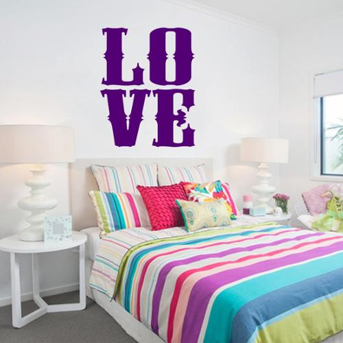 LOVE Wall Decal 12 inches wide x 15 inches tall BASIC BLUE