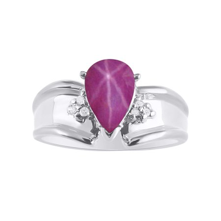 - Pear Shape Star Ruby & Diamond Ring Set In Sterling Silver - Color Stone Birthstone & Diamond Ring DSL-LR6821RSW