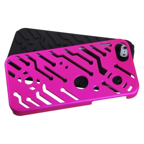 Insten Titanium Solid Hot Pink/Black Circuitboard Hybrid Rugged Hard Shockproof Case For iPhone SE 5s