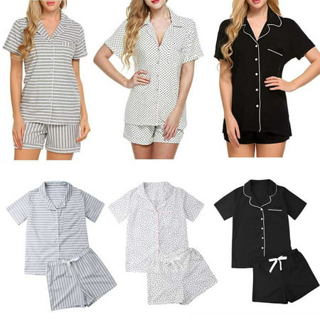 Women's Cotton Blend Pajamas Set Short Sleeve Button-Down Sleepwear Loungewear-Striped gray M