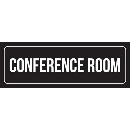 Conference Room Sign (Black Background With White Font Office Conference Room Plastic Wall Sign, 3x9 Inch)