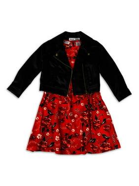 Blueberi Boulevard Girls Moto Jacket and Printed Dress, 2-Piece Outfit Set, Sizes 4-12