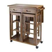 Winsome Wood Suzanne 3-PC Kitchen Island Set, 2 Tuck-away stools, Teak Finish
