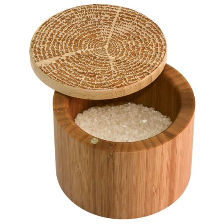 Totally Bamboo Salt Box, Tree of Life, Etched Bamboo Container With Magnetic Lid For Secure Storage ()