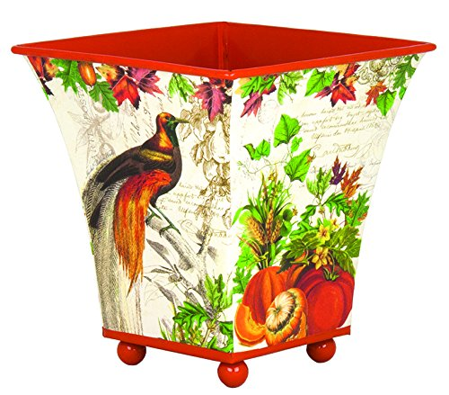 Small Footed Tin Cachepot Planter, Autumn Harvest, Small decoupage footed tin cachepot  ... by