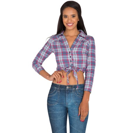 s&p women's blue red yarn dye plaid button up collared crop tops tied front