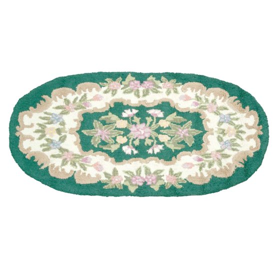 Wool Oval Traditional Area Rug Hooked Green Floral 3' X 5