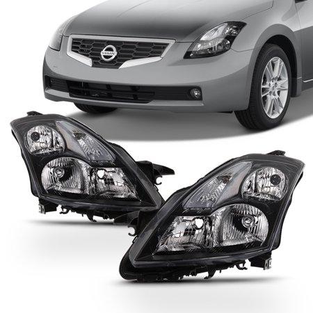 Fits 2007 2008 2009 Altima Sedan Left+Right Halogen Black Headlights (2009 Bmw Sedan)