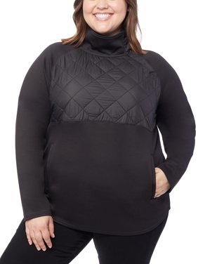 360Air Women's Plus Size Active Mock Neck Pull Over with Silk Nano Quilting
