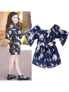 32366e449ac1 Product Image Cute Flower print Kids Baby Girls Toddler newborn clothes Off-Shoulder  bow Romper three quarters