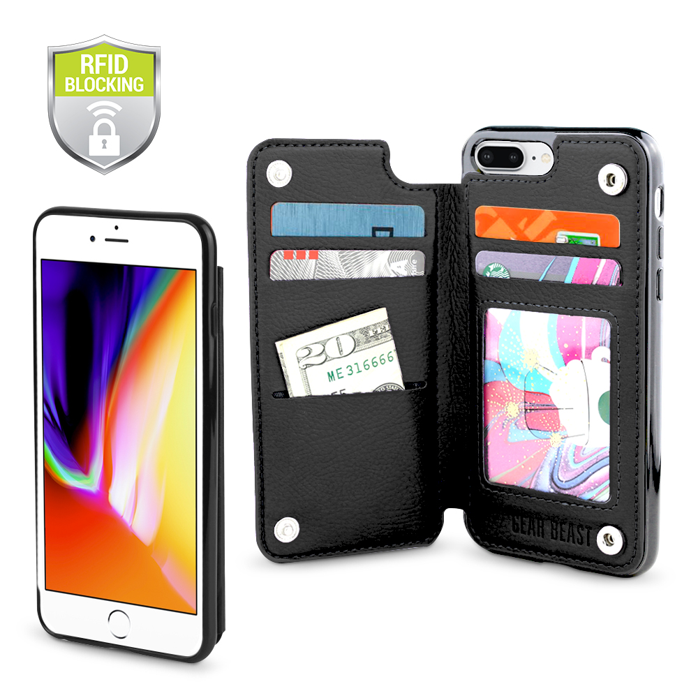 reputable site 00ea6 a4aaa Gear Beast Genuine Leather iPhone 8 Plus / 7 Plus Wallet Case, Top View  Flip Folio Case For iPhone 8 Plus / 7 Plus Slim Leather Cover 4 Slot Card  ...