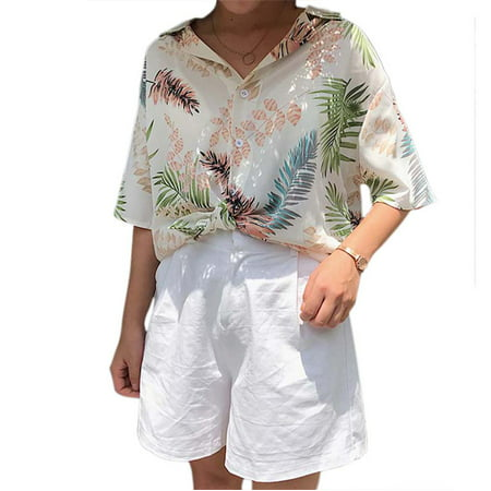OUMY Women Casual Loose Hawaii Leaves Printed Shirt - Hawaiian Womens Clothes