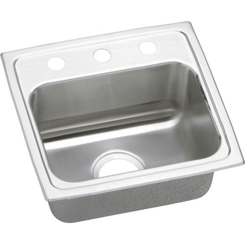 Elkay LR1716MR2 Gourmet Lustertone Stainless Steel Single Bowl Top Mount Sink with MR2 Faucet Holes