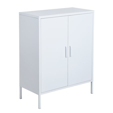 Furniture R Metal Storage Cabinet,Double Door,3-Tiers,Simple Elegant File locker Console Stand for Living Room Bedroom(White) - image 8 of 8