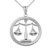 "Diamond Libra Zodiac in Rope Pendant Necklace in Sterling Silver - Pendant with 18"" chain"